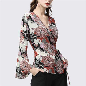Her Shop Blouses & Shirts Red / S Women's Chiffon Blouse with Red Floral Printed