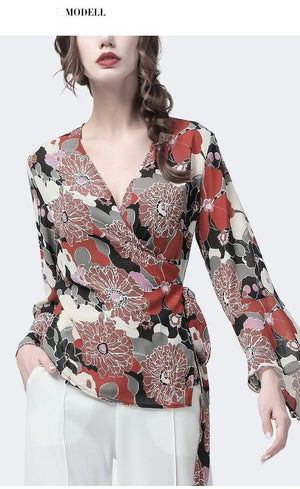 Her Shop Blouses & Shirts Women's Chiffon Blouse with Red Floral Printed