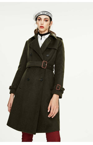 Her Shop coat army greenDMN02 / XL / China High Quality Double Breasted Slim Style Trench Coat