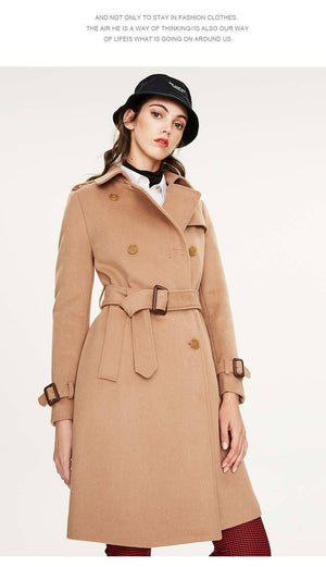 Her Shop coat camel colorDMN01 / S / China High Quality Double Breasted Slim Style Trench Coat
