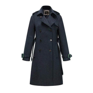 Her Shop coat blue DMN03 / S / China High Quality Double Breasted Slim Style Trench Coat