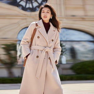 Her Shop Coats, Jackets & Blazers Pink / L 100% Wool Elegant Double Breasted Belted Warm Wool Coat