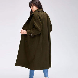 Her Shop Coats, Jackets & Blazers Autumn Winter New Women's Casual Wool Blend Trench Coat