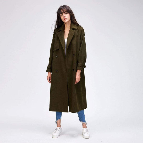 Her Shop Coats, Jackets & Blazers Army Green / S Autumn Winter New Women's Casual Wool Blend Trench Coat