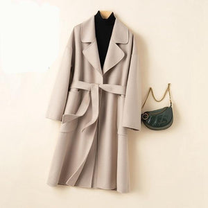 Her Shop Coats, Jackets & Blazers Gray / L Autumn Winter Water Ripple Wool Coat