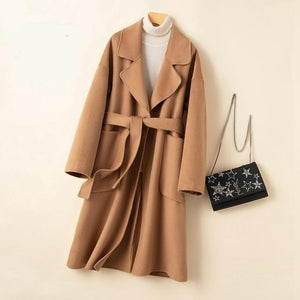 Her Shop Coats, Jackets & Blazers Khaki / L Autumn Winter Water Ripple Wool Coat