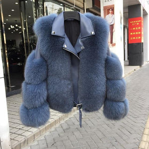 Her Shop Coats, Jackets & Blazers blue / M(bust 88cm) Double-faced Fur Moto & Biker Coat