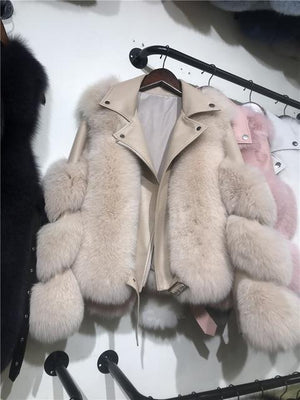 Her Shop Coats, Jackets & Blazers milk tea / 2XL(bust 100cm) Double-faced Fur Moto & Biker Coat