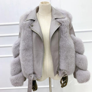 Her Shop Coats, Jackets & Blazers light grey / 3XL(bust 104cm) Double-faced Fur Moto & Biker Coat