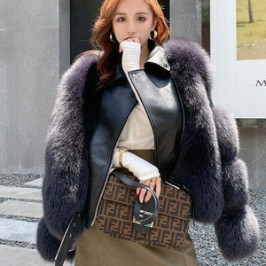 Her Shop Coats, Jackets & Blazers dark grey / 3XL(bust 104cm) Double-faced Fur Moto & Biker Coat