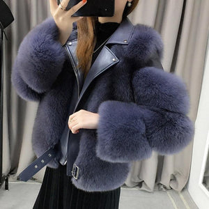 Her Shop Coats, Jackets & Blazers Double-faced Fur Moto & Biker Coat