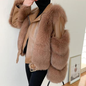 Her Shop Coats, Jackets & Blazers camel / S(bust 84cm) Double-faced Fur Moto & Biker Coat