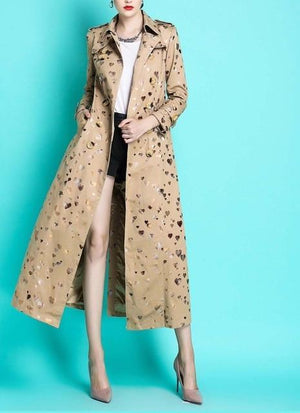Her Shop Coats, Jackets & Blazers heart print / S England Style Autumn Spring Trench Coat