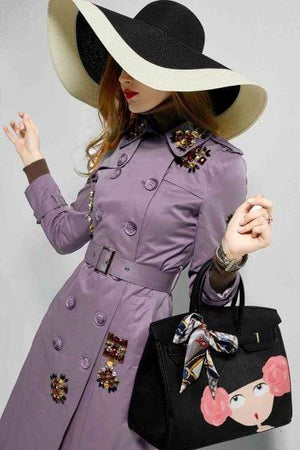 Her Shop Coats, Jackets & Blazers gray purple / 4XL England Style Autumn Spring Trench Coat