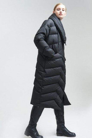 Her Shop Coats, Jackets & Blazers Black / XXXL High-end Brand 2019 Women's Winter Down Coat, X-Long, Asymmetric, Plus Size
