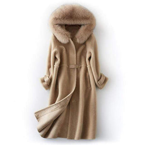 Her Shop Coats, Jackets & Blazers Camel / S Natural Fox Fur Hooded Genuine Real Wool Sheep Shearing Coat