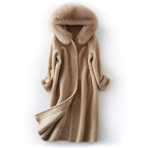 Her Shop Coats, Jackets & Blazers Beige camel / S Natural Fox Fur Hooded Genuine Real Wool Sheep Shearing Coat