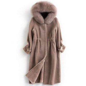 Her Shop Coats, Jackets & Blazers zangzangse / S Natural Fox Fur Hooded Genuine Real Wool Sheep Shearing Coat