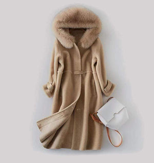 Her Shop Coats, Jackets & Blazers Natural Fox Fur Hooded Genuine Real Wool Sheep Shearing Coat