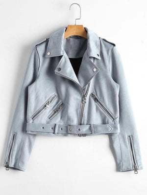 Her Shop Coats, Jackets & Blazers Sky Blue / S New Autumn Faux Leather Jacket