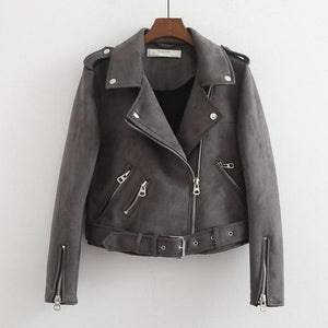 Her Shop Coats, Jackets & Blazers Gray / S New Autumn Faux Leather Jacket