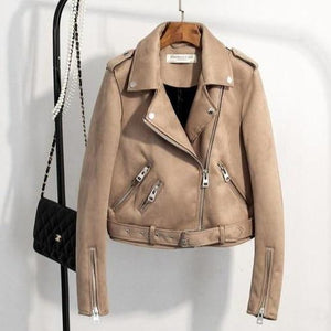Her Shop Coats, Jackets & Blazers Khaki / S New Autumn Faux Leather Jacket