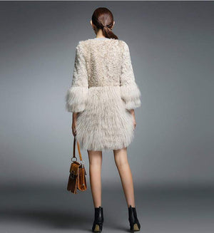 Her Shop Coats, Jackets & Blazers Real Fur Coat for Women Natural Lamb Fur with Mongolia Sheep Fur Coats