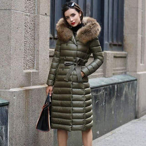 Her Shop Coats, Jackets & Blazers Army green / M Real Fur Slim Winter Down Hood Coat For Women