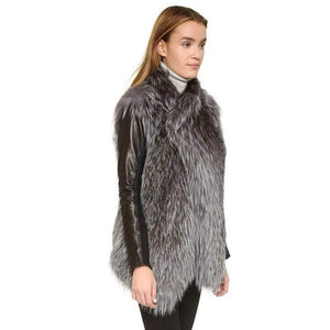 Her Shop Coats, Jackets & Blazers Real Knit Silver Fox Fur Vest With Collar