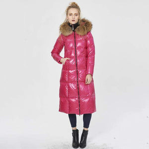 Her Shop Coats, Jackets & Blazers Top Quality  Fashion Glossy Fur Collar Luxury Black/White/Red Long Duck Down Jackets