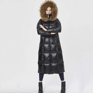Her Shop Coats, Jackets & Blazers Black / S Top Quality  Fashion Glossy Fur Collar Luxury Black/White/Red Long Duck Down Jackets