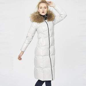 Her Shop Coats, Jackets & Blazers White / M Top Quality  Fashion Glossy Fur Collar Luxury Black/White/Red Long Duck Down Jackets