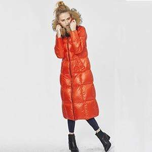 Her Shop Coats, Jackets & Blazers Orange / S Top Quality  Fashion Glossy Fur Collar Luxury Black/White/Red Long Duck Down Jackets