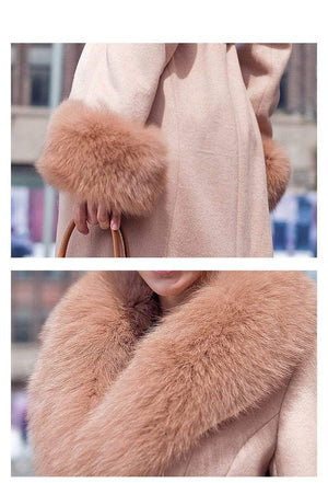 Her Shop Coats, Jackets & Blazers Top Quality Winter New Style Fashion Luxury Sheepskin Coat With Fox Fur Collar And Cuff