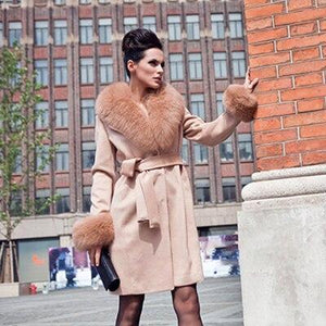 Her Shop Coats, Jackets & Blazers light orange / 5XL For Bust 116 CM Top Quality Winter New Style Fashion Luxury Sheepskin Coat With Fox Fur Collar And Cuff