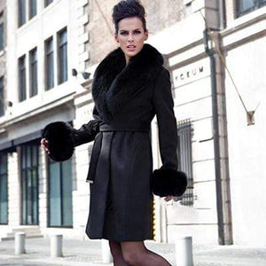Her Shop Coats, Jackets & Blazers black / L For Bust 96 CM Top Quality Winter New Style Fashion Luxury Sheepskin Coat With Fox Fur Collar And Cuff