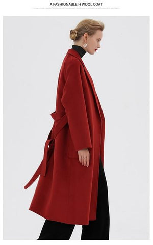 Her Shop Coats, Jackets & Blazers color same picture 3 / XL Water Ripple Double-Sided Cashmere Coat
