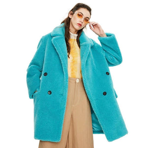 Her Shop Coats, Jackets & Blazers turquoiseDKL05 / S / China Winter New Arrival High Quality Mid-Length Fur Coat