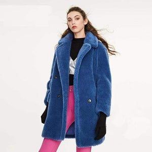 Her Shop Coats, Jackets & Blazers blueDKL04 / S / China Winter New Arrival High Quality Mid-Length Fur Coat