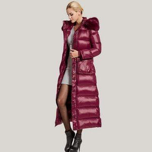 Her Shop Coats, Jackets & Blazers Lpng Wine red / XS Women New Slim X-long  Big Warm Fur Collar High Quality 90% White Duck Down Coat Parka
