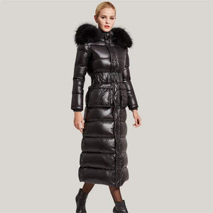 Her Shop Coats, Jackets & Blazers Women New Slim X-long  Big Warm Fur Collar High Quality 90% White Duck Down Coat Parka
