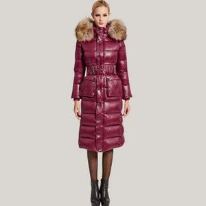Her Shop Coats, Jackets & Blazers Wine red / XXL Women New Slim X-long  Big Warm Fur Collar High Quality 90% White Duck Down Coat Parka