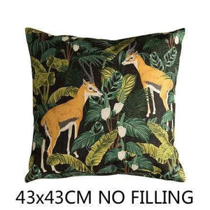 Her Shop Cushion Cover C Decorative Pillow Case Vintage Jungle Animal