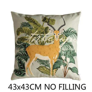 Her Shop Cushion Cover F Decorative Pillow Case Vintage Jungle Animal