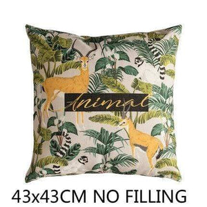 Her Shop Cushion Cover E Decorative Pillow Case Vintage Jungle Animal
