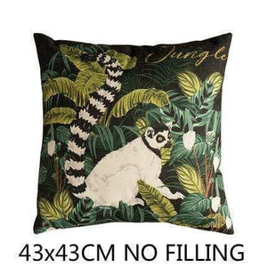Her Shop Cushion Cover A Decorative Pillow Case Vintage Jungle Animal