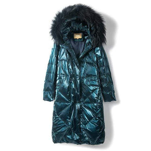 Her Shop green / S Down Jacket Woman Hooded 90% White Goose Down Womens Down Coats with Real Fox