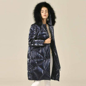Her Shop blue / XL Down Jacket Woman Hooded 90% White Goose Down Womens Down Coats with Real Fox