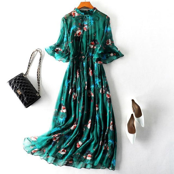 Her Shop Dress Green / S 100% Real Silk Women Vintage Summer Dress