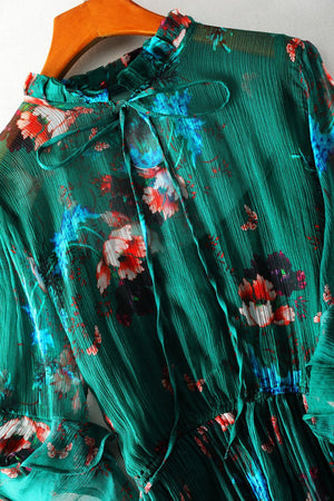 Her Shop Dress 100% Real Silk Women Vintage Summer Dress